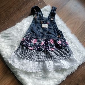 Oshkosh | Floral tiered jean overall dress…